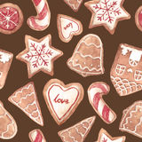 Nice ginger cookies vector pattern Royalty Free Stock Image