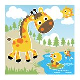 Nice giraffe with little friends at summer. Cute giraffe with little duck. Vector cartoon illustration, no mesh, vector on eps 10 vector illustration