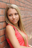 Nice girl. The beautiful young girl on a background of a brick wall Stock Photography