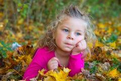 Nice girl in autumn foliage Stock Photo