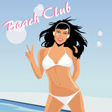 Nice girl on the beach. Dark hair young girl is happy on beach. Vector illustration Royalty Free Stock Image