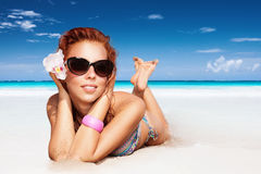 Nice girl on the beach Stock Images
