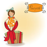 A nice girl with a big gift box Royalty Free Stock Image