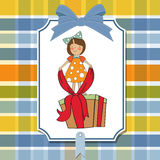 A nice girl with a big gift box Royalty Free Stock Images