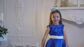 Nice girl in blue dress stock video