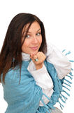 Nice girl in blue poncho royalty free stock photography