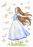 Nice girl in a blue transparent dress is walking barefoot and d. Reaming. Birds fly around. Watercolor illustration for a female magazine, blog or cover of a Stock Image