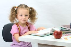 The nice girl with the book. The nice little girl with the book Royalty Free Stock Photography