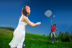 Nice girl and boy with rackets Stock Photo