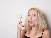 Nice girl came up with the bright idea Royalty Free Stock Image
