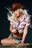 Nice girl in a cowboy's hat Royalty Free Stock Images