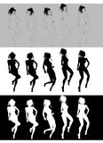 Nice girl dancing silhouette. Silhouettes of nice girls dancing Stock Image