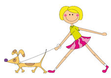 Nice girl with dog. Illustration of nice girl walking with fun dog, isolated on white Royalty Free Stock Images