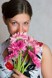Nice girl in a dress with flowers Royalty Free Stock Image