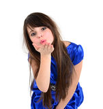 Nice girl dressed in blue wending kiss to someone Stock Photos
