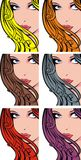 Nice girl face with color hairs Stock Photos
