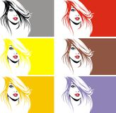 Nice girl face in many colors Royalty Free Stock Photography