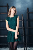 Nice Girl in Fashion Green Dress Royalty Free Stock Images