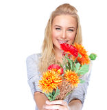 Nice girl with floral bouquet Stock Image