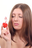 Nice girl with in form of heart Royalty Free Stock Images