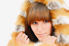 Nice girl in fox fur Royalty Free Stock Images