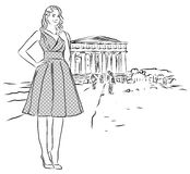 Nice Girl in Front of Temple in Agrigento, Sicily. Royalty Free Stock Images