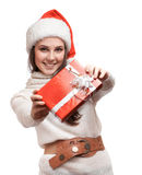 The nice girl is giving the gifts Royalty Free Stock Photography