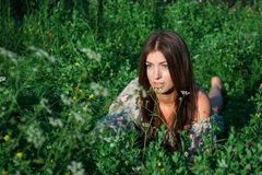 Nice girl among green grass and flowers Royalty Free Stock Images