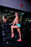 Nice girl at the gym royalty free stock images