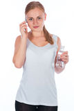 Nice girl holding a bottle of water Stock Photo