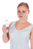 Nice girl holding a bottle of water Royalty Free Stock Photos