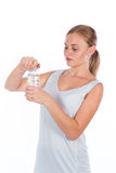 Nice girl holding a bottle of water Royalty Free Stock Images