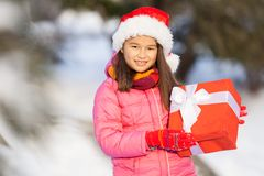 Nice girl holding present outside. Stock Image