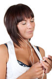 The nice girl listens to music Stock Photo