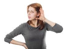 Nice girl listens Stock Photos