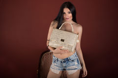 Nice girl with long black hair and gold bag Stock Images