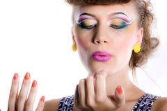 Nice girl with make-up and manicure Royalty Free Stock Photos