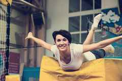 Nice girl makes physical exercises Royalty Free Stock Photography