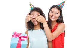 Nice girl making birthday surprise Royalty Free Stock Photography