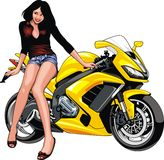 Nice girl and motorbike Royalty Free Stock Photography