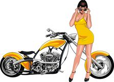 Nice girl and my original designed motorbike Royalty Free Stock Image