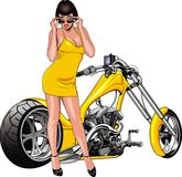 Nice girl and my original designed motorbike Royalty Free Stock Photos