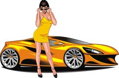 Nice girl and my original designed sport car Royalty Free Stock Images