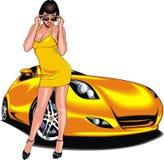 Nice girl and my original designed sport car Royalty Free Stock Photo