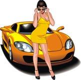 Nice girl and my original designed sport car Royalty Free Stock Image