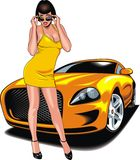 Nice girl and my original designed sport car Royalty Free Stock Photo