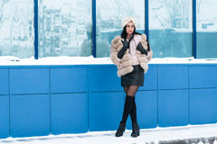 Nice girl outdoor in a winter. Day Royalty Free Stock Images