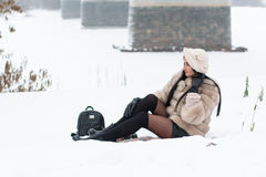 Nice girl outdoor in a winter. Day Stock Photography