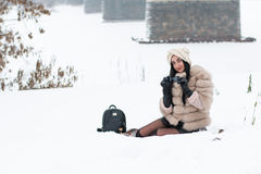 Nice girl outdoor in a winter. Day Stock Images