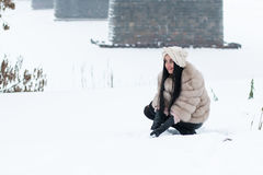 Nice girl outdoor in a winter Stock Images